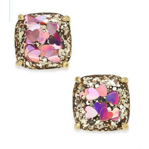 KATE SPADE Gold Tone Heart Glitter Stud Earrings